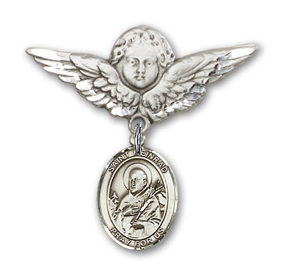 Pin Badge with St. Meinrad of Einsideln Charm and Angel with Larger Wings Badge Pin - Silver tone