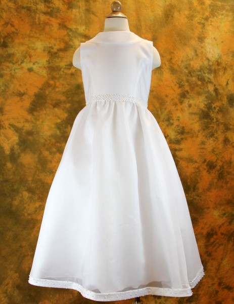 First Communion Dress with Pearled Waist & Hemline - White