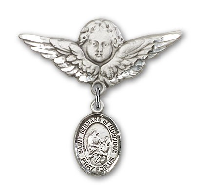 Pin Badge with St. Bernard of Montjoux Charm and Angel with Larger Wings Badge Pin - Silver tone