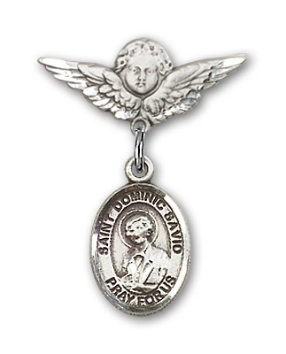 Pin Badge with St. Dominic Savio Charm and Angel with Smaller Wings Badge Pin - Silver tone