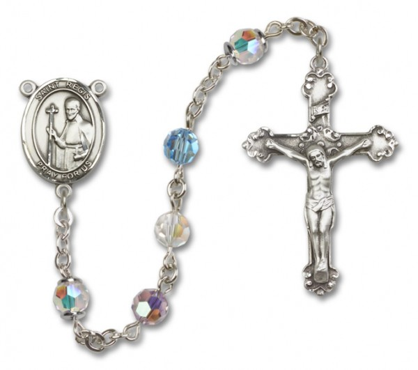 St. Regis Sterling Silver Heirloom Rosary Fancy Crucifix - Multi-Color