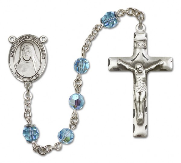 St. Pauline Visintainer Sterling Silver Heirloom Rosary Squared Crucifix - Aqua