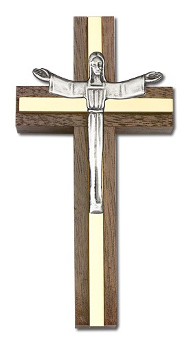 "Contemporary Risen Christ Wall Cross in Walnut and Metal Inlay 4"" - Two-Tone Gold"