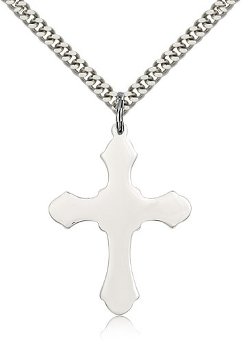 Budded Thick Cross Necklace - Sterling Silver