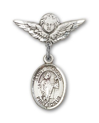 Pin Badge with St. Richard Charm and Angel with Smaller Wings Badge Pin - Silver tone