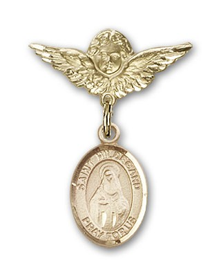 Pin Badge with St. Hildegard Von Bingen Charm and Angel with Smaller Wings Badge Pin - 14K Yellow Gold