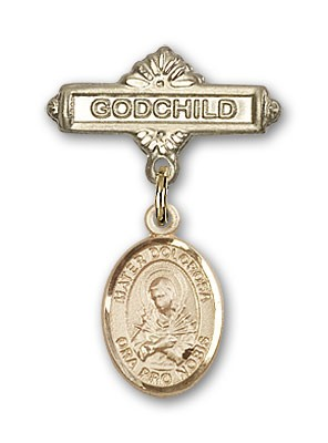 Pin Badge with Mater Dolorosa Charm and Godchild Badge Pin - Gold Tone