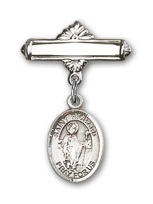 Pin Badge with St. Richard Charm and Polished Engravable Badge Pin - Silver tone