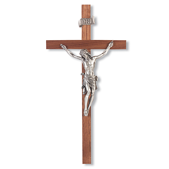 Slimline Walnut Wall Crucifix with Bowed Corpus - 11 inch - Brown