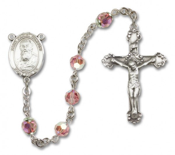 St. Daniel Comboni Sterling Silver Heirloom Rosary Fancy Crucifix - Light Rose