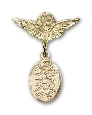 Pin Badge with St. Michael the Archangel Charm and Angel with Smaller Wings Badge Pin - 14K Solid Gold