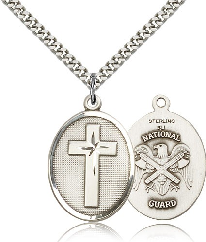 Cross National Guard Pendant - Sterling Silver
