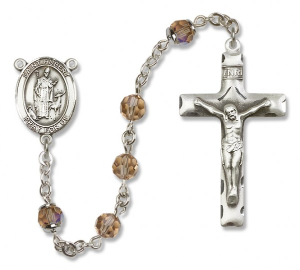 St. Hubert of Liege Sterling Silver Heirloom Rosary Squared Crucifix - Topaz