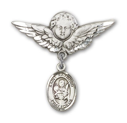 Pin Badge with St. Raymond Nonnatus Charm and Angel with Larger Wings Badge Pin - Silver tone