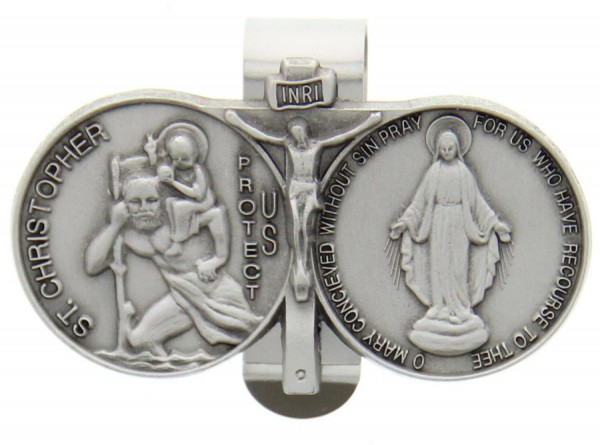 "St. Christopher and Blessed Mary Visor Clip, Pewter - 2 5/8""W - Silver"