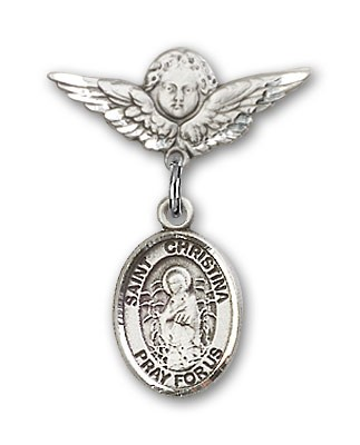 Pin Badge with St. Christina the Astonishing Charm and Angel with Smaller Wings Badge Pin - Silver tone