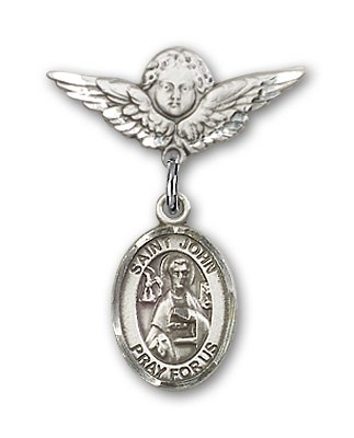 Pin Badge with St. John the Apostle Charm and Angel with Smaller Wings Badge Pin - Silver tone