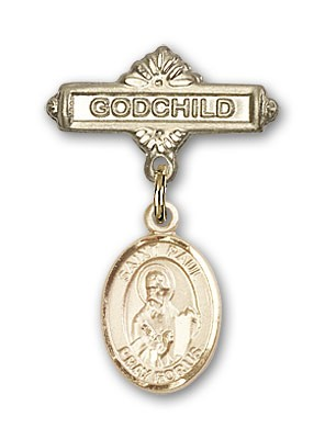 Pin Badge with St. Paul the Apostle Charm and Godchild Badge Pin - 14K Solid Gold