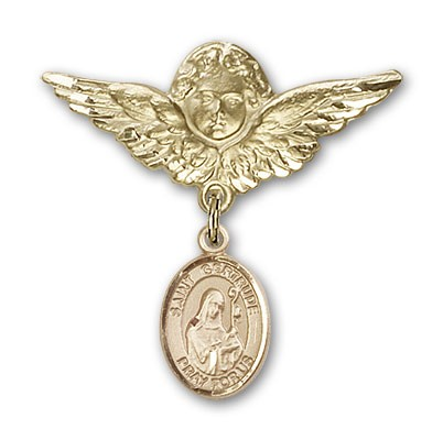 Pin Badge with St. Gertrude of Nivelles Charm and Angel with Larger Wings Badge Pin - 14K Yellow Gold