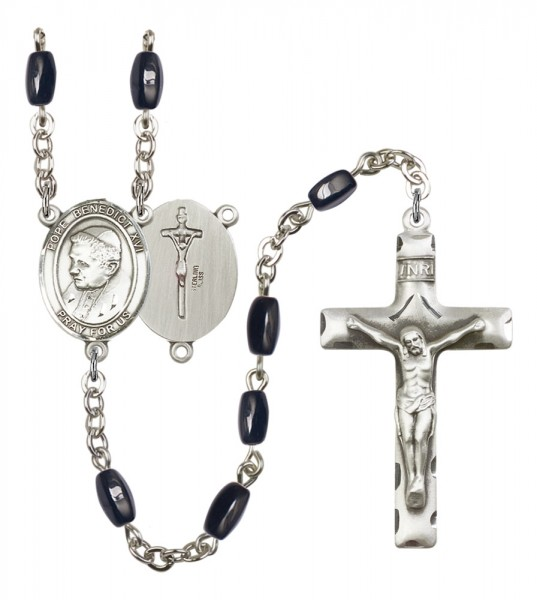 Men's Pope Emeritace  Benedict XVI Silver Plated Rosary - Black | Silver