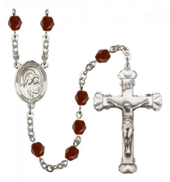 Women's Our Lady of Good Counsel Birthstone Rosary - Garnet