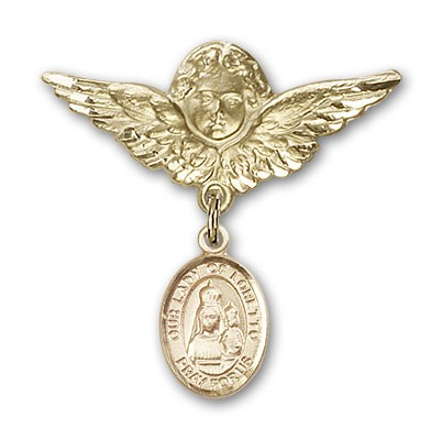 Pin Badge with Our Lady of Loretto Charm and Angel with Larger Wings Badge Pin - 14K Yellow Gold