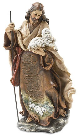 "Jesus the Good Shepherd Statue with Psalm 23 - 12.25"" - Full Color"