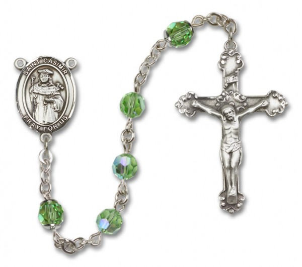 St. Casimir of Poland Sterling Silver Heirloom Rosary Fancy Crucifix - Peridot