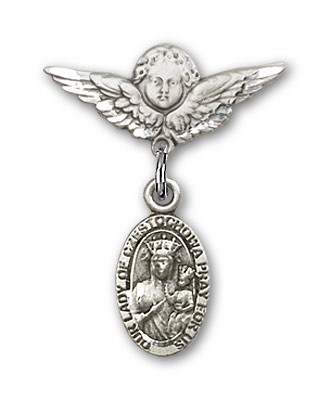 Pin Badge with Our Lady of Czestochowa Charm and Angel with Smaller Wings Badge Pin - Silver tone