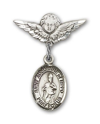 Pin Badge with St. Augustine of Hippo Charm and Angel with Smaller Wings Badge Pin - Silver tone