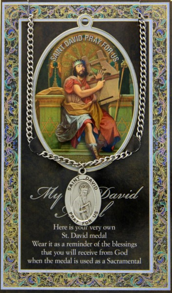 St. David Medal in Pewter with Bi-Fold Prayer Card - Silver tone
