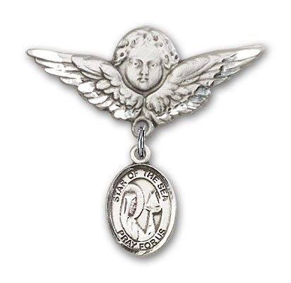 Pin Badge with Our Lady Star of the Sea Charm and Angel with Larger Wings Badge Pin - Silver tone