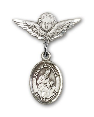 Pin Badge with St. Ambrose Charm and Angel with Smaller Wings Badge Pin - Silver tone