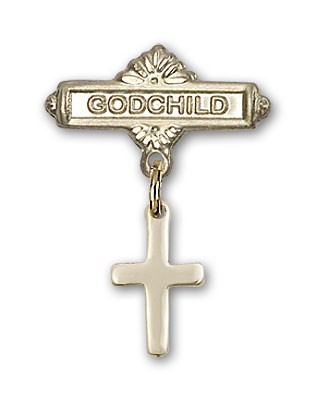 Baby Pin with Cross Charm and Godchild Badge Pin - Gold Tone