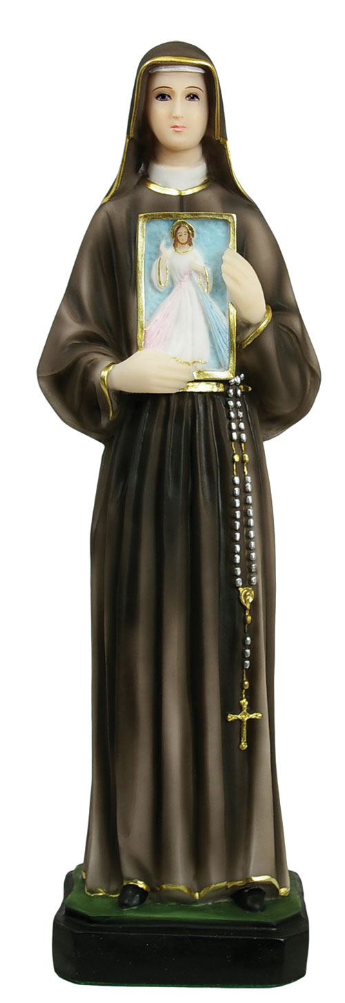 St. Faustina Statue 19.5 Inch - Full Color