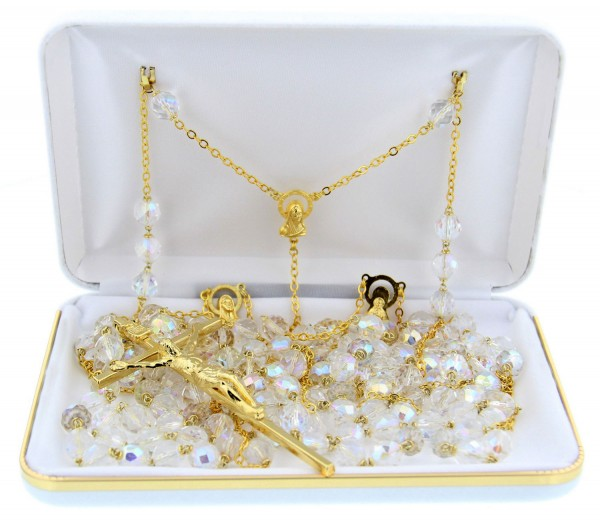 Gold Tone Crystal Bead Lasso Wedding Rosary - With Deluxe Box