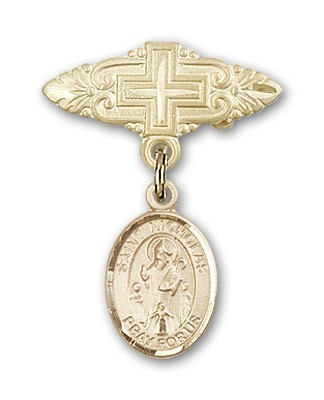 Pin Badge with St. Nicholas Charm and Badge Pin with Cross - 14K Yellow Gold