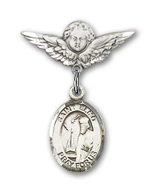 Pin Badge with St. Elmo Charm and Angel with Smaller Wings Badge Pin - Silver tone