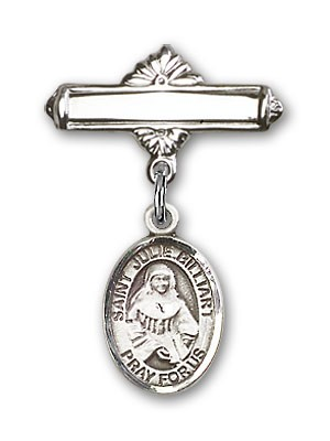Pin Badge with St. Julie Billiart Charm and Polished Engravable Badge Pin - Silver tone