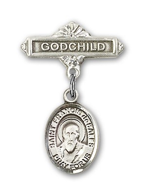 Pin Badge with St. Francis de Sales Charm and Godchild Badge Pin - Silver tone