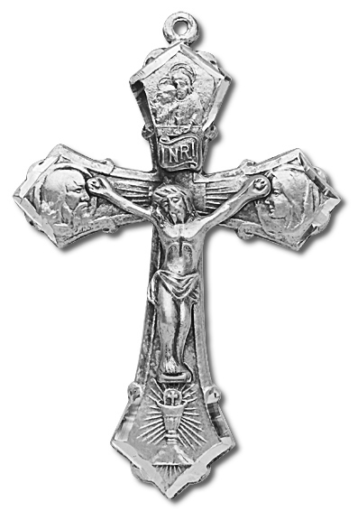 Sterling Silver Holy Family Rosary Crucifix - Sterling Silver