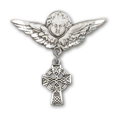 Pin Badge with Celtic Cross Charm and Angel with Larger Wings Badge Pin - Silver tone