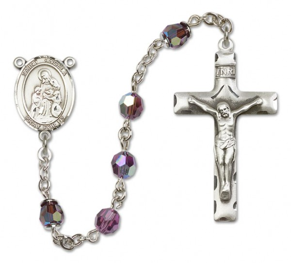 St. Angela Merici Sterling Silver Heirloom Rosary Squared Crucifix - Amethyst