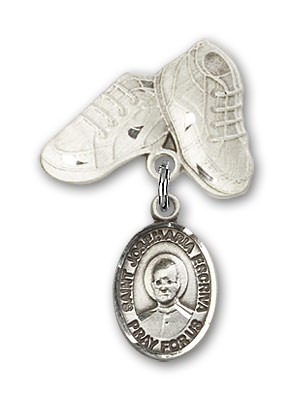 Pin Badge with St. Josemaria Escriva Charm and Baby Boots Pin - Silver tone