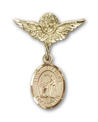 Pin Badge with St. Valentine of Rome Charm and Angel with Smaller Wings Badge Pin - 14K Solid Gold