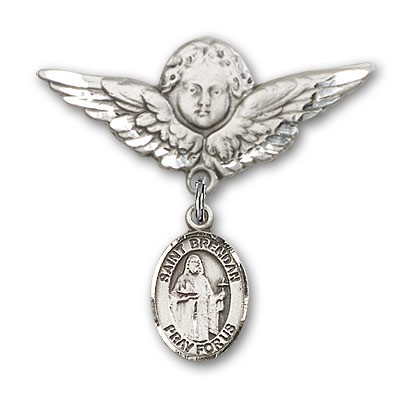 Pin Badge with St. Brendan the Navigator Charm and Angel with Larger Wings Badge Pin - Silver tone