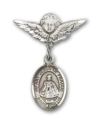 Pin Badge with Infant of Prague Charm and Angel with Smaller Wings Badge Pin - Silver tone