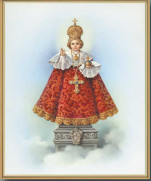 Infant of Prague Gold Framed Print - Full Color