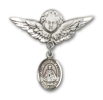 Pin Badge with Infant of Prague Charm and Angel with Larger Wings Badge Pin - Silver tone