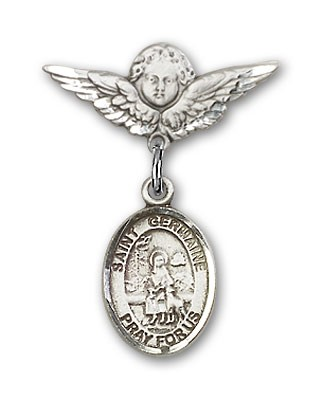 Pin Badge with St. Germaine Cousin Charm and Angel with Smaller Wings Badge Pin - Silver tone